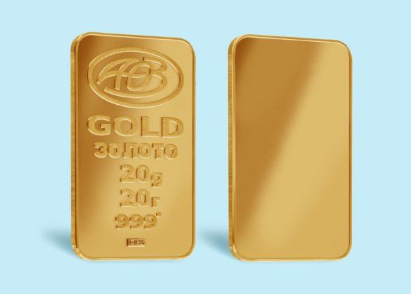 золотые слитки 20 грамм 999 пробы